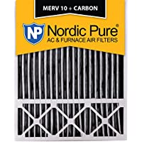 Nordic Pure 20x25x5 (4-3/8 Actual Depth) Lennox X6673 Replacement MERV 10 Pleated Plus Carbon AC Furnace Air Filter, Box of 2