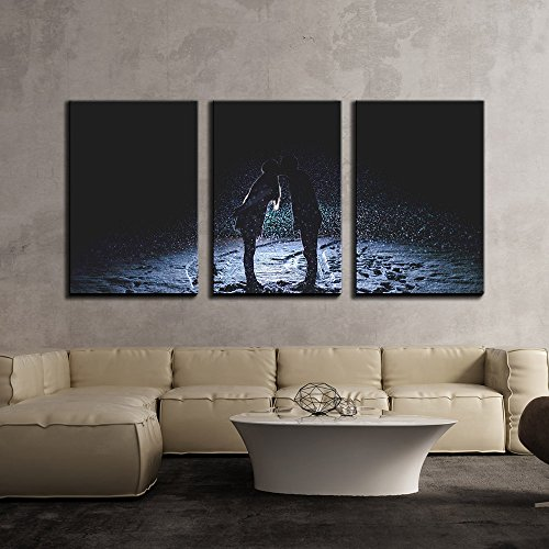 wall26 - 3 Piece Canvas Wall Art - Romantic Silhouette of Couple Kissing in The Snow - Modern Home Decor Stretched and Framed Ready to Hang - 16