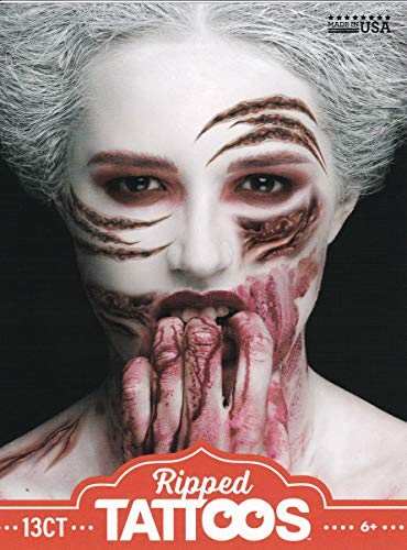 Halloween Realistic Temporary Costume Make Up Face Tattoo Kit Men or Women - (Adult Zombie - Ripped) - 1 -