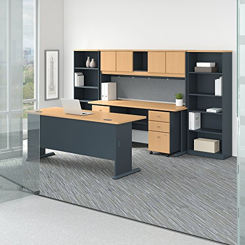Bush Business Furniture Series A 72W Desk with Credenza, Hutch, Bookcases and Storage in Beech and ()