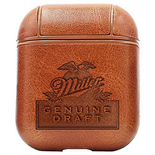 (Logo Miller 1 (Vintage Brown) Engraved Air Pods Protective Leather Case Cover - a New Class of Luxury to Your AirPods - Premium PU Leather and Handmade exquisitely by Master Craftsmen)