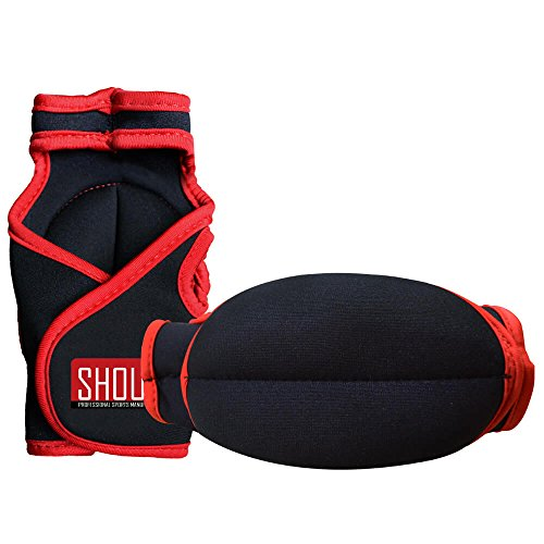 SHOUNg Weighted Glove for MMA, Cardio, Aerobics, Kickboxing and Workout - Hand Speed and StableTraining, Maximise Shoulder Strength Powerfully (4LBS/Pair, Red) by SHOUNg