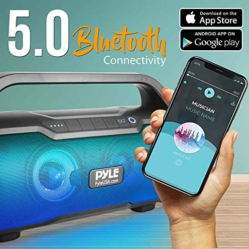 Wireless Portable Bluetooth Boombox Speaker – 500W 2.0CH Rechargeable Boom Box Speaker Portable Barrel Loud Stereo System with AUX Input/USB/SD/Fm Radio, 3″ Subwoofer, Voice Control – Pyle PBMWP185 51ZiZovyrSL