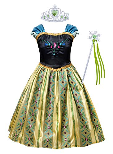 Cotrio Little Girls Anna Coronation Dress Up Princess Dresses Halloween Costume with Accessories Size 4T (3-4Years, Tiara/Crown, Wand/Scepter)