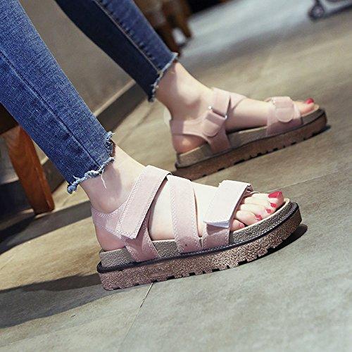 libre zapatos deportes grueso de Rosado sandalias de plana al romanos SOHOEOS mujer punta abierta de zapatos plataforma verano informal velcro nueva de mujer de estudiante playa seca aire zapatos ligero moda 4wBZnaq0