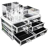Clear Acrylic Cosmetics Makeup Jewelry Organizer 6 Drawers with 8 Compartments Top Section ( idea for Christmas, birthday gift)