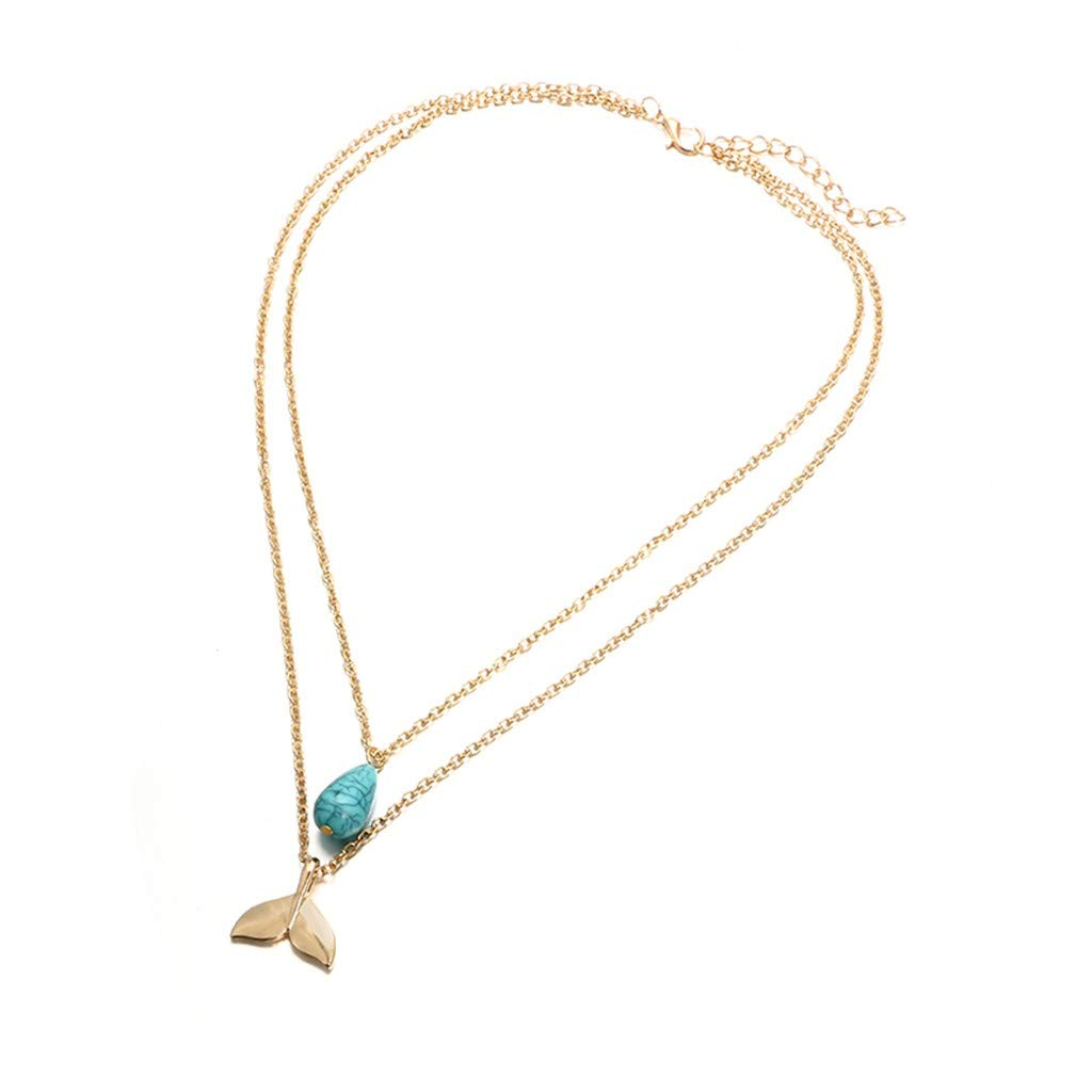 aliveGOT Layered Mermaid Fishtail Turquoise Waterdrop Pendant Chain Necklaces Bohemian Necklaces Jewelry for Women and Girls