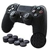 Pandaren STUDDED Anti-slip Silicone Cover Skin Grip for PS4 /SLIM /PRO controller(Black controller skin x 1 + FPS PRO Thumb Grips x 8)