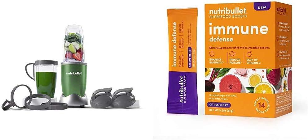 NutriBullet NB9-1301G Pro 13 Pcs Clover Green with SuperFood Immune Defense Boosts - 14 Single Serve Packs