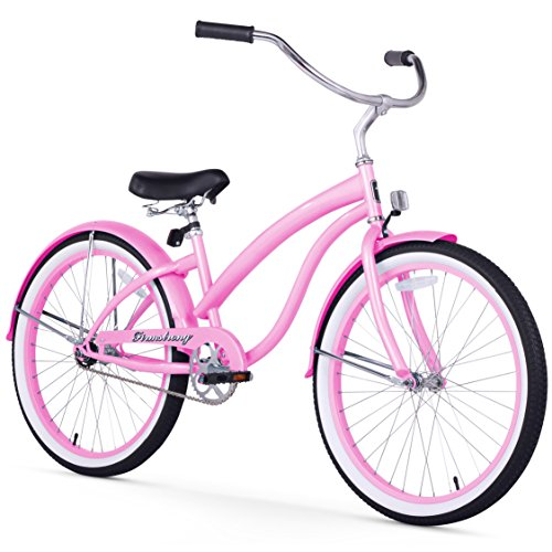 Firmstrong Bella Classic Single Speed Beach Cruiser Bicycle, 24-Inch, Pink