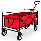 Pull Along Festival Trolley Foldable Garden Outdoor Hand Cart Red 100killogram 84x44x27.5centimeter Heavy Duty Utility Steel Wagon Truck