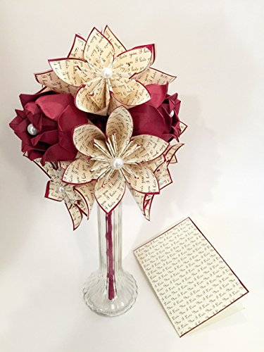 Paper Flowers & Roses Dozen- Vase & Card Included, First Anniversary Gift, origami, one of a kind paper bouquet, red rose, traditional gift, perfect for her