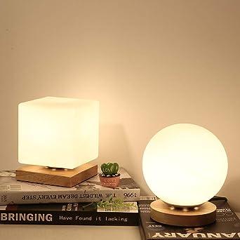 Lámpara de mesilla decoración del dormitorio lámpara de mesa pequeña bola de cristal cuadrado luz de fondo de madera maciza LED led bombilla tricolor interruptor de botón cuadrado: Amazon.es: Iluminación