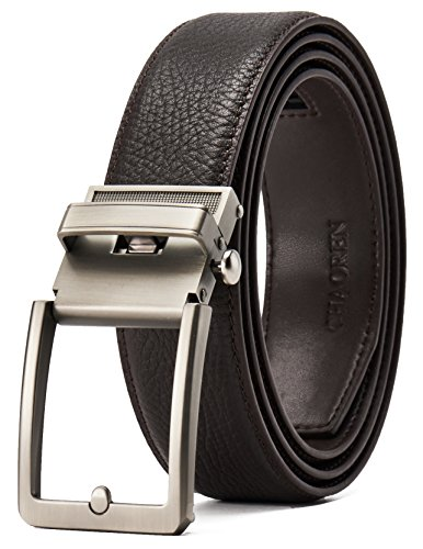 Fit Custom Match (Full Grain Leather Ratchet Belt for Men with Nickel Free Click Buckle Presented in a Gift Box–Trim To Comfort Fit and Adjustable Dress (Tan Brown, Custom: 28