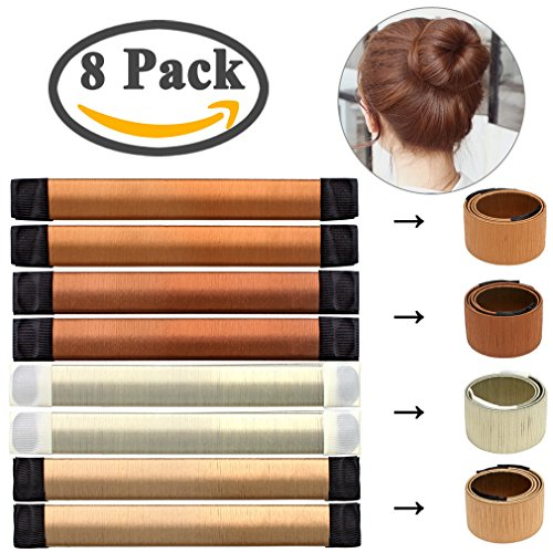 Price comparison product image Amariver 8pcs Hair Bun Maker,  DIY Magic Easy Bun Maker Women Girls Professional Hair Bun Making Styling French Twist Donut Bun Hairstyle Tools