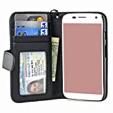 Navor Folio Book Style Leather Wallet Case for Motorola Moto G with Money Pocket ( Black )