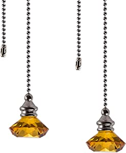 Ceiling Fan Pull Chain Set - 2 pieces Amber Diamond Fan Pull Chains 20 Inch Ceiling Fan Chain Extender with Chain Connector Home Wedding Decor Ornament Pendant