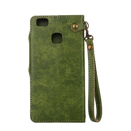 Funda Huawei P9 Lite, CaseLover Folio Cartera Piel PU Carcasa para P9 Lite Libro Cuero Tapa con Cierre Magnético, Soporte Plegable, Billetera y Tarjeta Ranura Cubierta Leather Caja - Naranja Verde