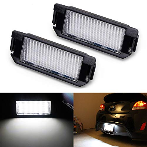(iJDMTOY OEM-Fit 3W Full LED License Plate Light Kit For 11-up Hyundai Veloster, 09-up Hyundai Genesis Coupe, 09-up Kia Soul, Powered by 18-SMD Xenon White LED)