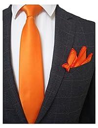 "JEMYGINS 3.5"" Solid Color Necktie Tie and Pocket Square Set for Men - Various Colors"