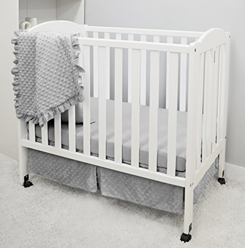 American Baby Company Heavenly Soft Minky Dot 3-Piece Mini/Portable Crib Bedding Set, Grey, for Boys and - Crib Minky Dot Bedding
