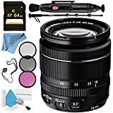 Fujifilm XF 18-55mm f/2.8-4 R LM OIS Zoom Lens 16276479 + 58mm 3 Piece Filter Kit + 64GB SDXC Card + Lens Pen Cleaner + Fibercloth + Lens Capkeeper + 70in Monopod + Deluxe Cleaning Kit Bundle
