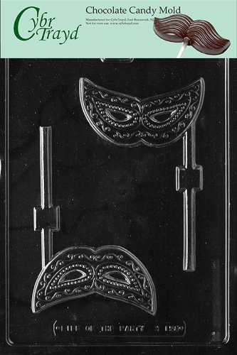 Cybrtrayd M158 Mask Lolly Chocolate Candy Mold with Exclusive Cybrtrayd Copyrighted Chocolate Molding Instructions]()