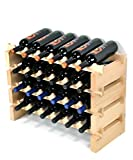 Modular Wine Rack Pine Wood 24-72 Bottle Capacity Storage 6 Bottles Across up to 12 Rows Stackable Newest Improved Model (24 Bottles - 4 Rows)