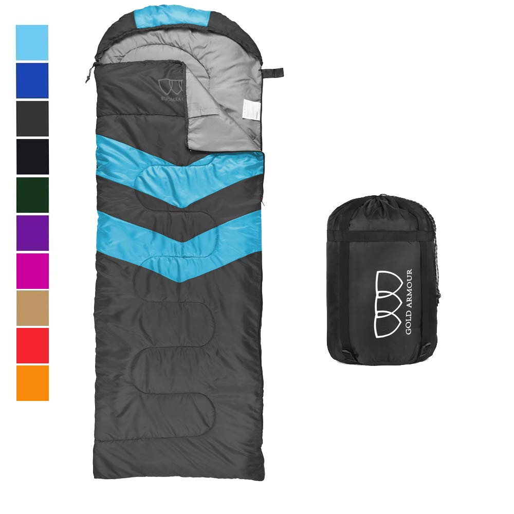 Sleeping Bag - Sleeping Bag for Indoor & Outdoor Use - Great for Kids, Boys, Girls, Teens & Adults. Ultralight and Compact Bags for Sleepover, Backpacking & Camping (Gray/Sky Blue - Right Zipper) by Gold Armour