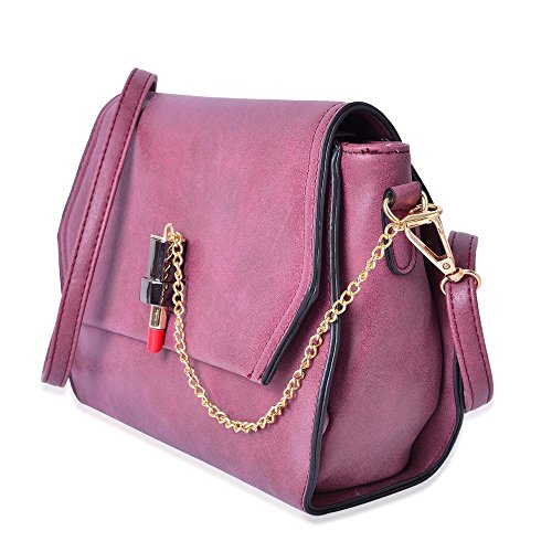 Colour Removable Crossbody Dark Size Shoulder Lock Fuchsia 26X18X8 with Strap Adjustable Bag Cm and Design Lipstick fxqF45q