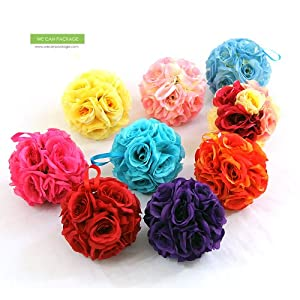 We Can Package 7 Inch Silk Rose Pomander Kissing Balls for Wedding Decorations, Party Event, Floral Arrangements Home 50