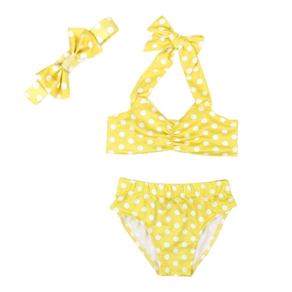 Two Piece Bowknot Shape Bikini + Hairband Yellow Swimsuit Swimming Costume Beachwear for 2-6 Year Old Little Girl Shiningup