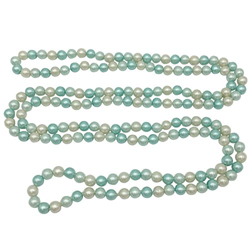 Glass Pearl Bead Drop - Long Imitation Pearl Multi Color Glass Bead Necklace - Assorted Colors (Light Blue & White)