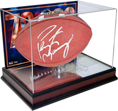 Peyton Manning Autograph Football (Peyton Manning Denver Broncos Autographed Football with Mahogany Base Football Display Case with 70,000 Passing Yards Back - Fanatics Authentic Certified)