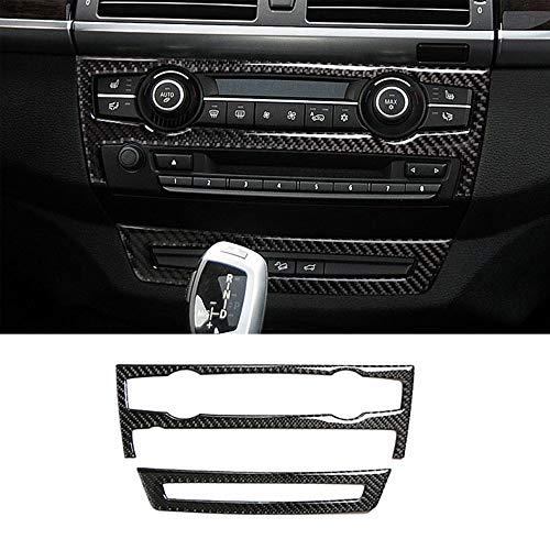 Thor-Ind Carbon Fiber Console CD & AC Panel Cover Trim for BMW X5 E70(08-13) X6 E71(09-14 Air Conditioner AC CD Control Panel Decorative Frame Stickers (AC+CD Panel - 09 Fiber Carbon