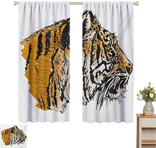June Gissing Tiger Blackout Curtains for Bedroom Sketch Drawing of Bengal Royal Animal Carnivore Large Cat with Vibrant Colors Curtains with Valance W52 x L72 Ligth Brown Black