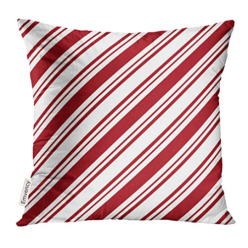 Emvency Throw Pillow Cover Candy Red White Diagonal Stripes Cane Decorative Pillow Case Home Decor Square 18x18 Inches -