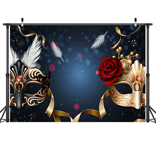 LYWYGG Birthday Party Thin Vinyl Photography Backdrop 7x5FT Masquerade Mysterious Photography Backdrop Photo Background Studio Prop for Wedding, Party, Newborn, Children, and Product Photography -
