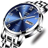 LIGE Watches Mens Stainless Steel Waterproof Analog Quartz Watch Gents Business Automatic Wristwatch