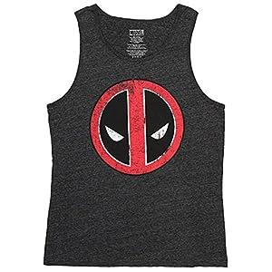 Mad Engine Marvel Men's Deadpool Character Face Logo Tank Top Shirt (X-Large)