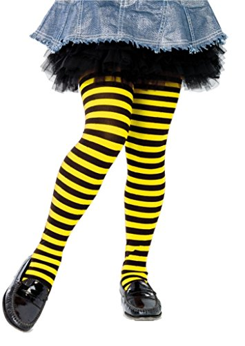 Girls Striped Tights 7 color combinations 3 Sizes (Medium, Black/Yellow) ()