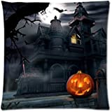 GREFER Happy Halloween Decorations Pillow Cases Linen Sofa Cushion Cover Home Decor (D)