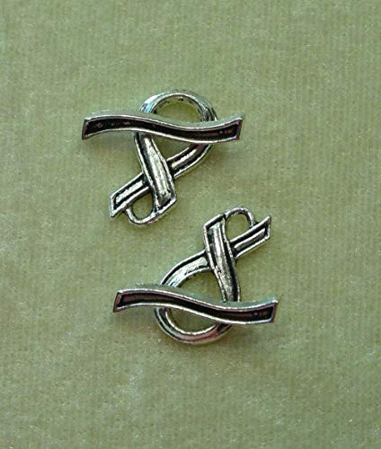 10 Tibetan Silver 20mm Awareness Ribbon Toggle Clasp Sets Bead Findings ()