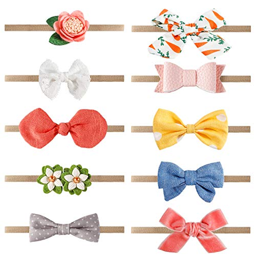10pcs Baby Headbands, Bow Nylon Headbands, Spearmint Baby Girl Headbands Accessories for Newborn Toddler Girls