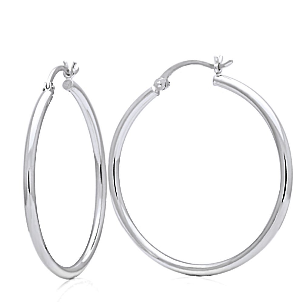 Other Sizes 14K White Gold 2mm width Plain Hollow Gold Round Tube Hoop Earrings