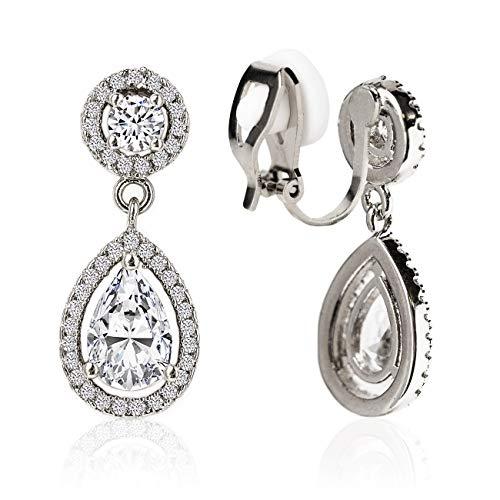 - A+O Clip on Earrings, Drop Crystal Clip Earrings in Silver