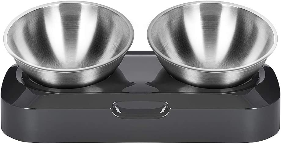 Jerock Raised Cat Bowls, Elevated 15° Tilted Stainless Steel Cat Bowls Non-Slip Stress Free Pet Food and Water Feeding Dishes for Cats and Small Dogs