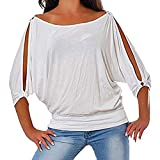 Aniywn Women Tops Cold Shoulder Short Sleeves Round Neck Casual Plus Size Solid Bat Sleeve T Shirts White