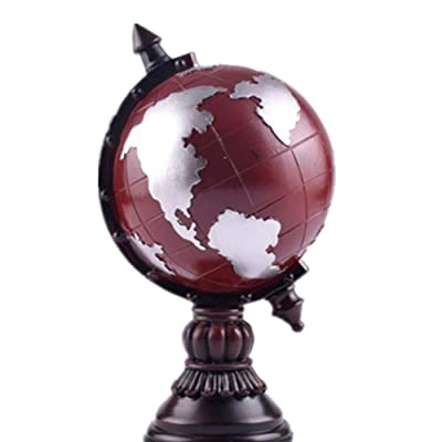 JUMERY Geographic Globes Vintage Resin Ornaments Self-Cleaning Globe Piggy Bank Decorations Resin Crafts Home Decorations Earth Retro Old Crafts Creative Toy (Color : Red, Size : Free Size): Home & Kitchen