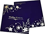 Blue Coloured Beautiful Wedding Invitation Card Ethnic Wedding Card Design Vivah Patrika Best Choice for Wedding Beautiful & Unique Creation By Yash Cards - Pack of 100